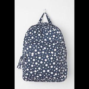 Basic Canvas School Backpack Blue White Polka Dot